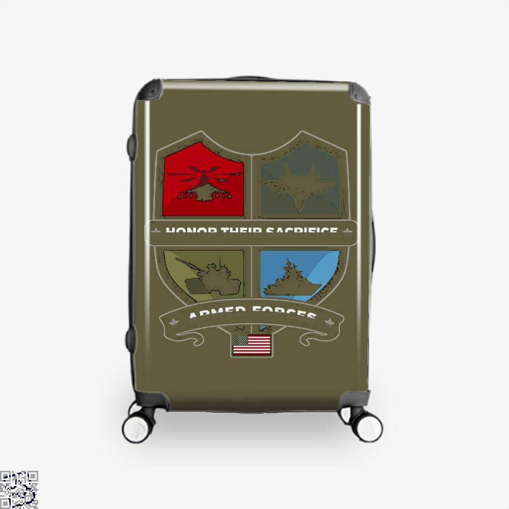 Armed Forcesday Honor Their Sacrifice Militar Deadpan Suitcase - Brown / 16 - Productgenjpg