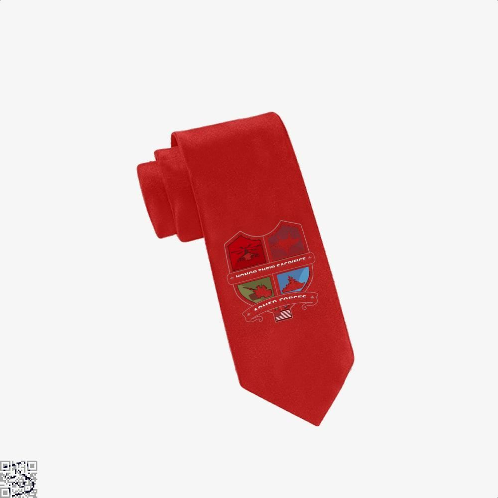 Armed Forcesday Honor Their Sacrifice Militar Deadpan Tie - Red - Productgenjpg