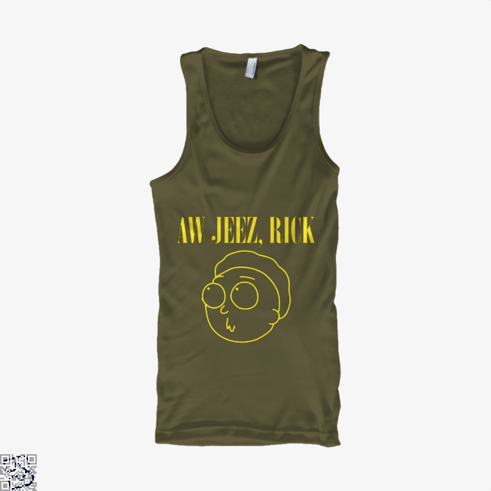 Aw Jeez Rick And Morty Tank Top - Men / Brown / Small - Productgenapi