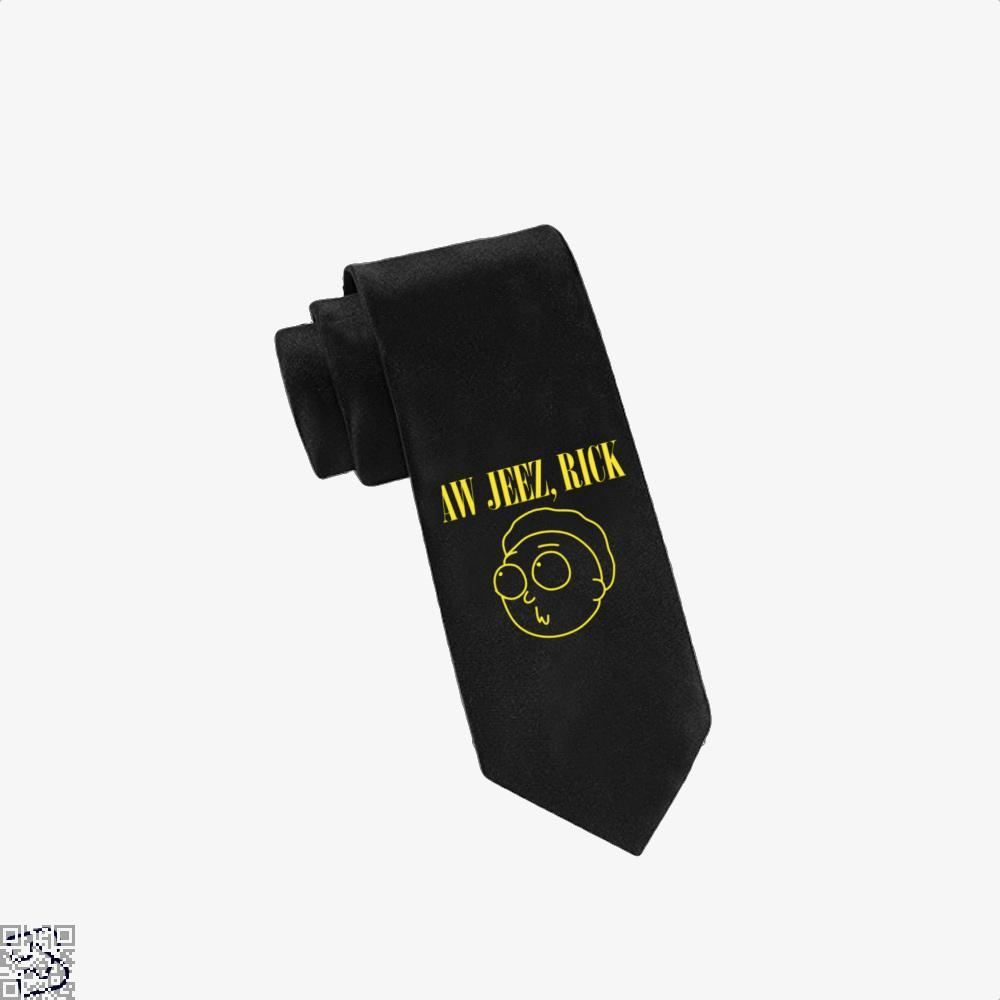 Aw Jeez Rick And Morty Tie - Black - Productgenapi