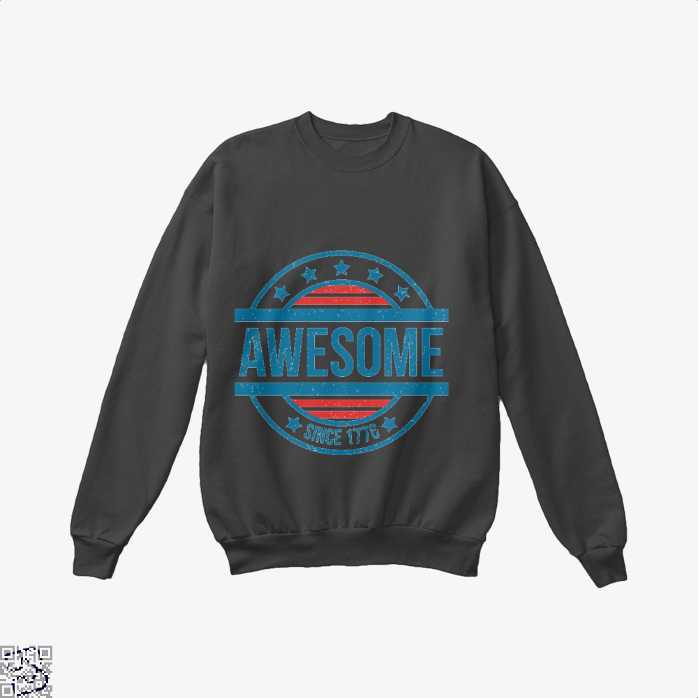 Awesome Since 1776 Independence Day Crew Neck Sweatshirt - Black / X-Small - Productgenjpg