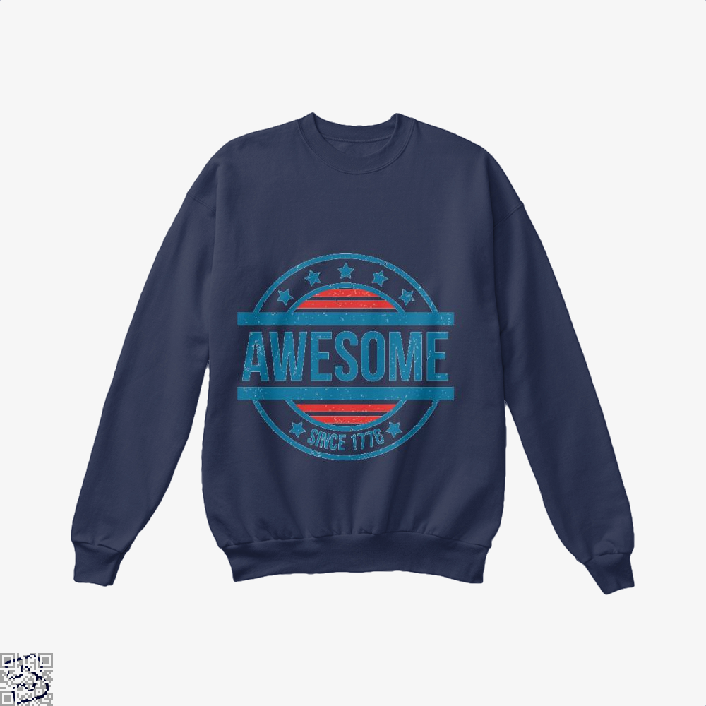 Awesome Since 1776 Independence Day Crew Neck Sweatshirt - Blue / X-Small - Productgenjpg