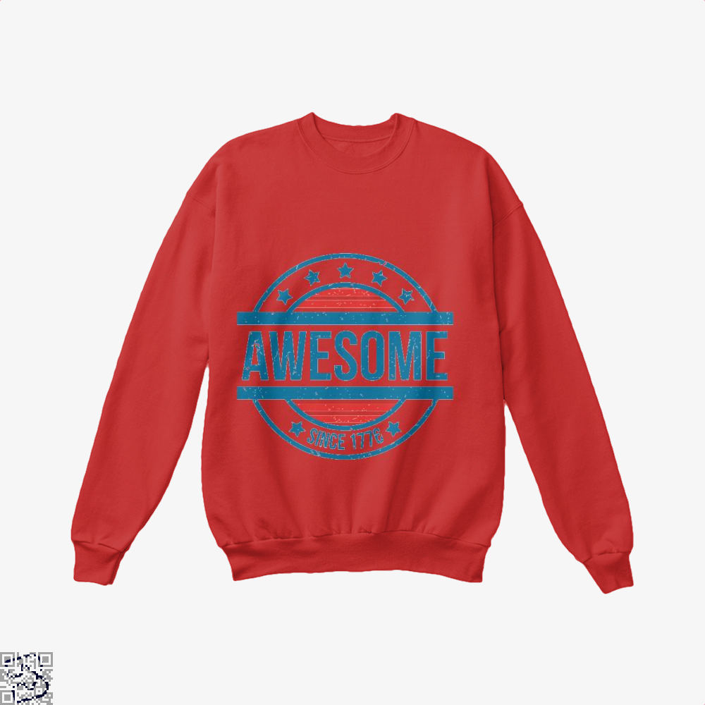 Awesome Since 1776 Independence Day Crew Neck Sweatshirt - Red / X-Small - Productgenjpg