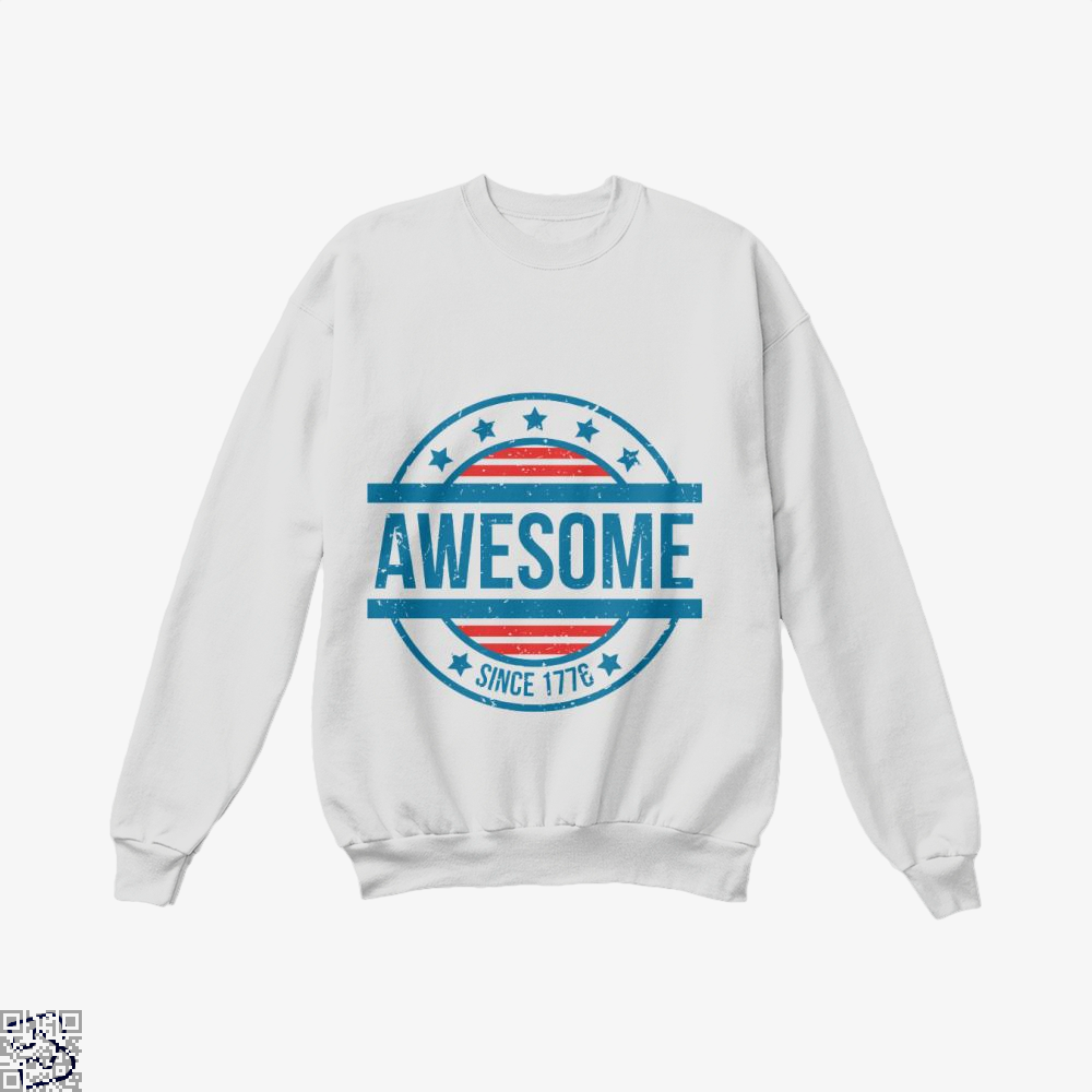 Awesome Since 1776 Independence Day Crew Neck Sweatshirt - White / X-Small - Productgenjpg