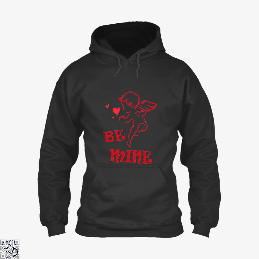Be Mine Cupid Angel Valentines Day Hoodie - Black / X-Small - Productgenjpg