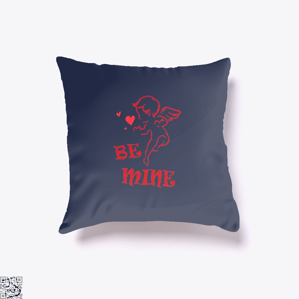 Be Mine Cupid Angel Valentines Day Throw Pillow Cover - Blue / 16 X - Productgenjpg
