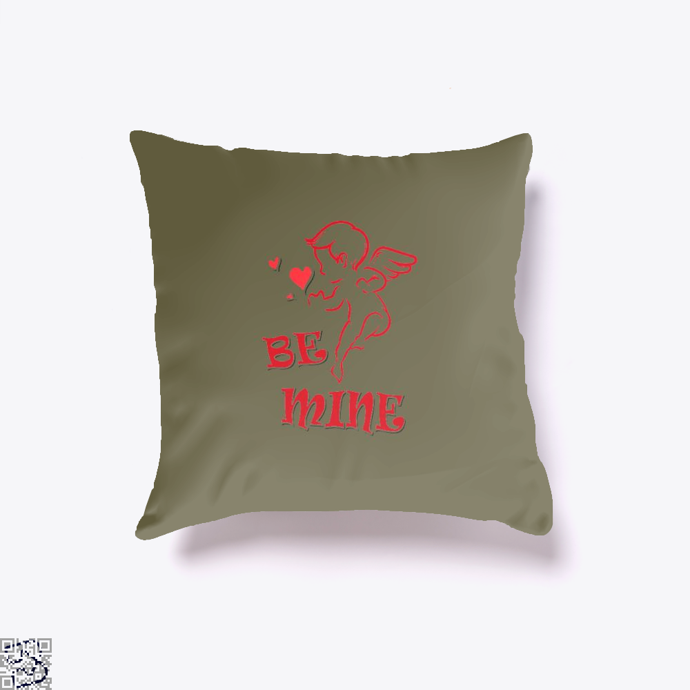 Be Mine Cupid Angel Valentines Day Throw Pillow Cover - Brown / 16 X - Productgenjpg