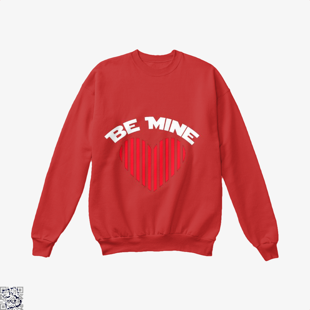 Be Mine Valentine Retro Striped Heart Youth Valentines Day Crew Neck Sweatshirt - Red / X-Small - Productgenjpg