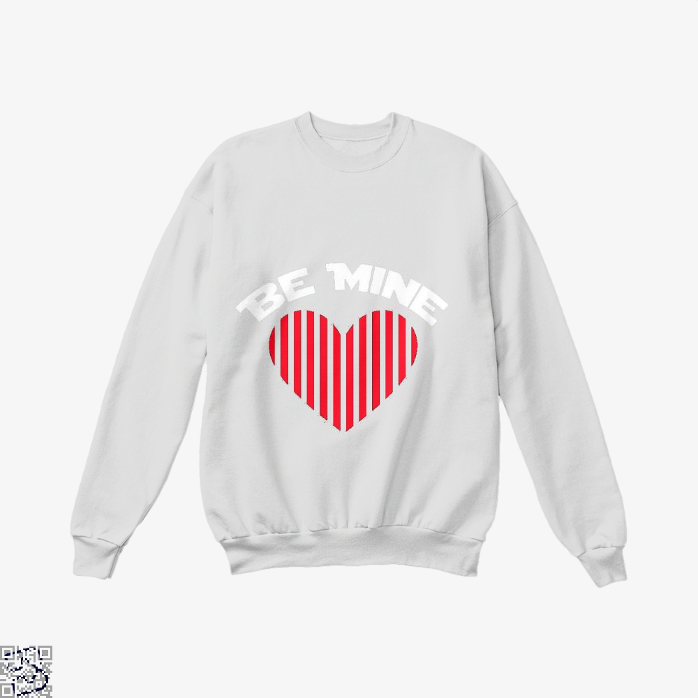 Be Mine Valentine Retro Striped Heart Youth Valentines Day Crew Neck Sweatshirt - White / X-Small - Productgenjpg