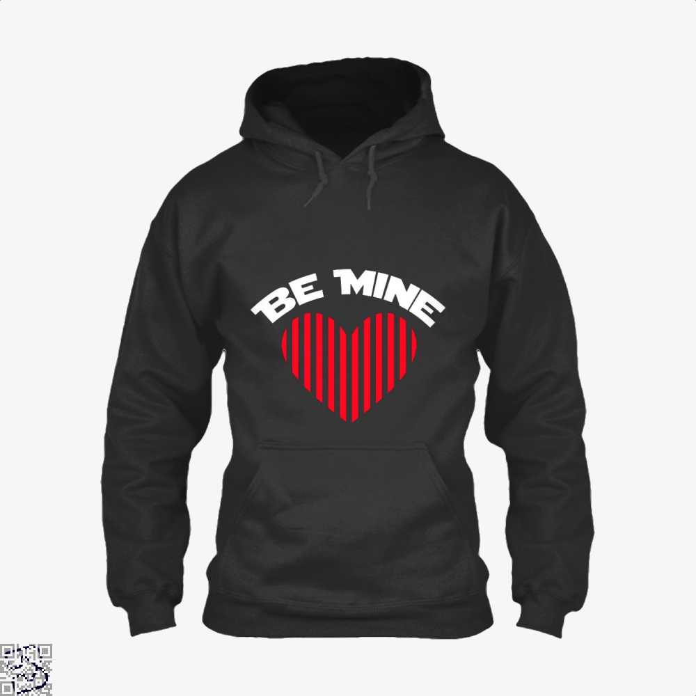 Be Mine Valentine Retro Striped Heart Youth Valentines Day Hoodie - Black / X-Small - Productgenjpg