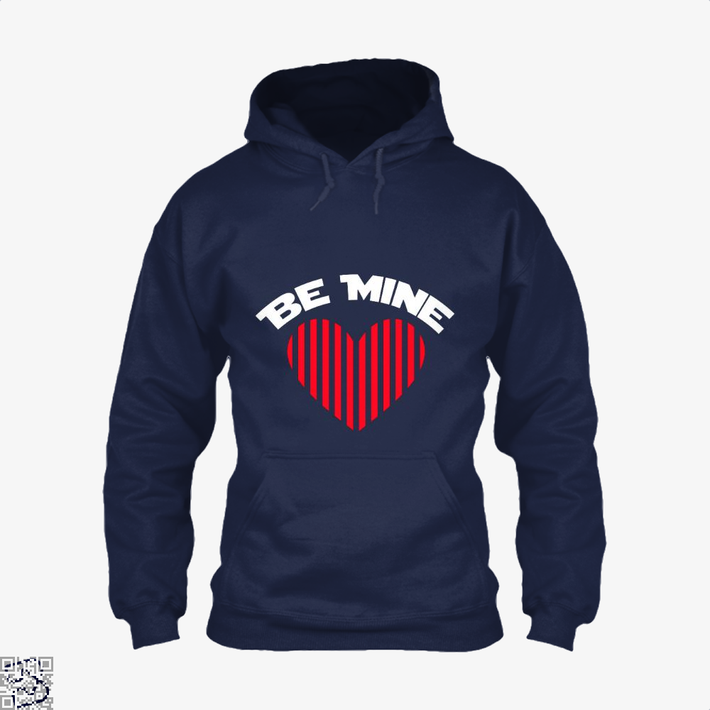 Be Mine Valentine Retro Striped Heart Youth Valentines Day Hoodie - Blue / X-Small - Productgenjpg