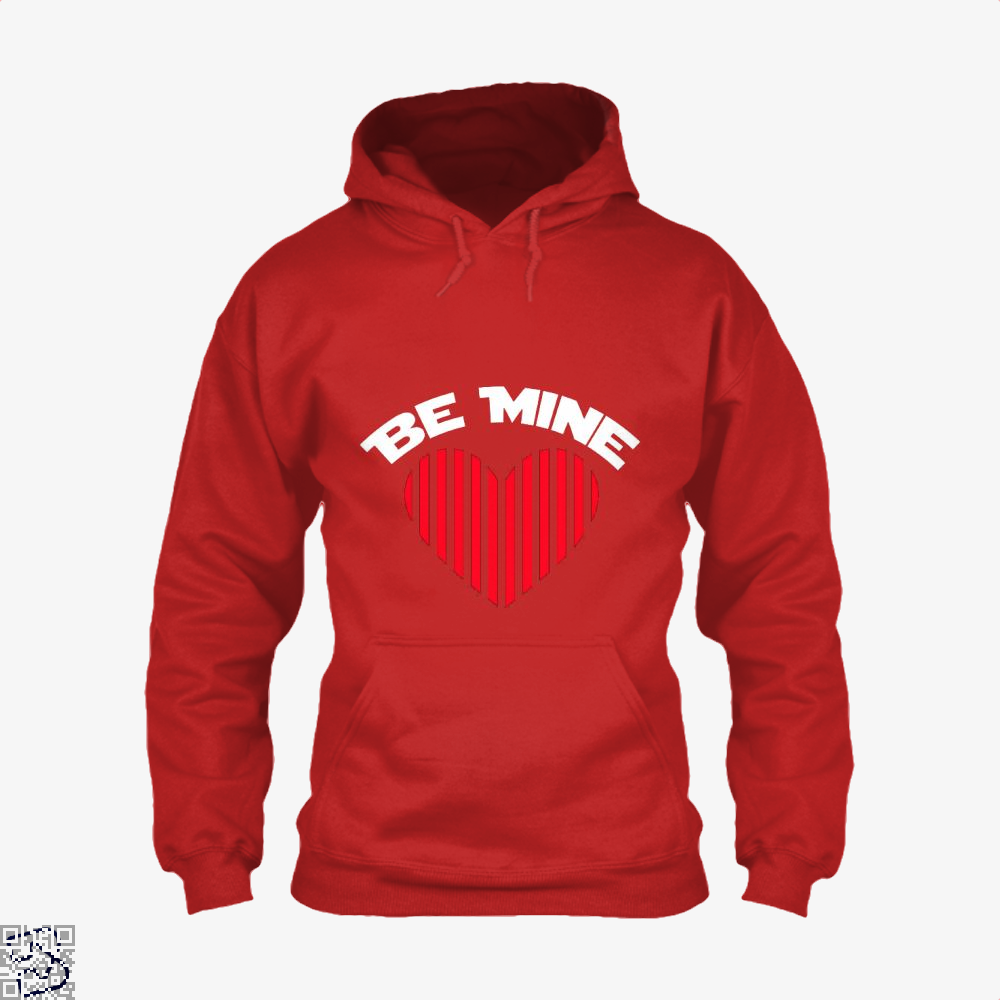 Be Mine Valentine Retro Striped Heart Youth Valentines Day Hoodie - Red / X-Small - Productgenjpg