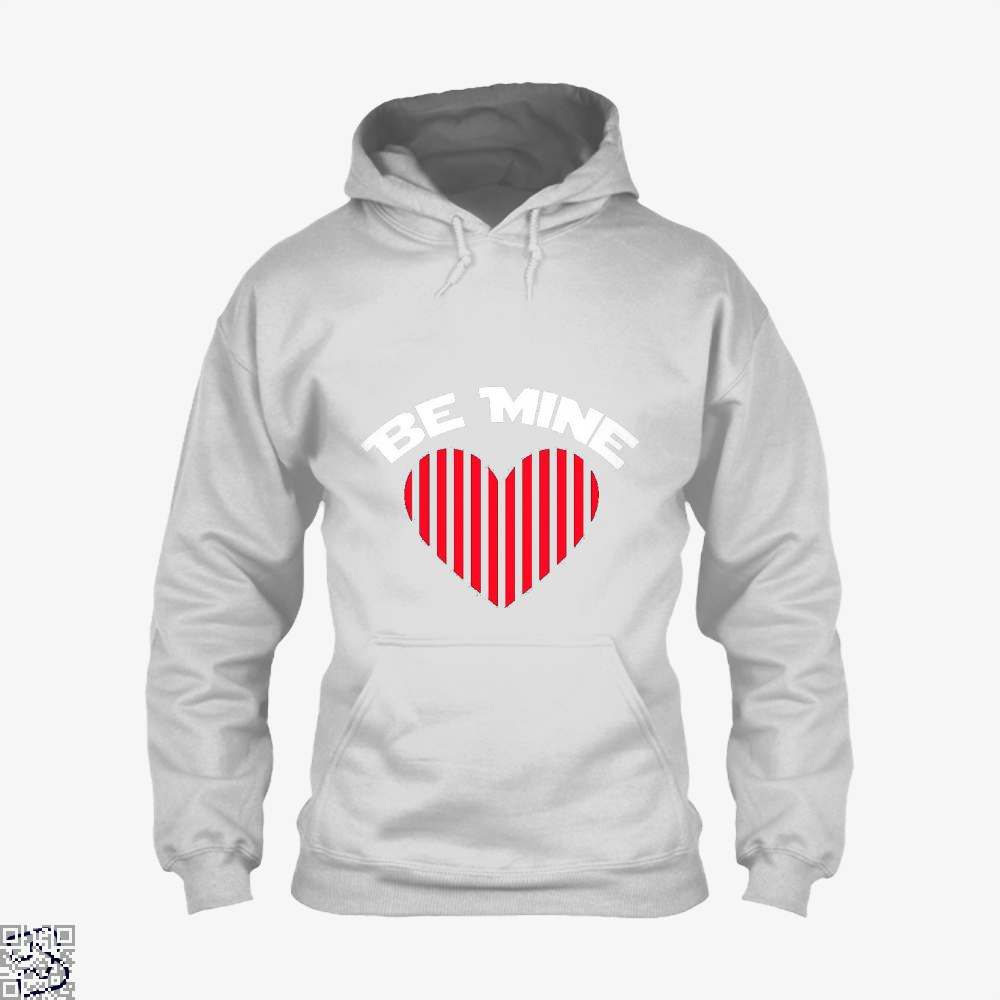 Be Mine Valentine Retro Striped Heart Youth Valentines Day Hoodie - White / X-Small - Productgenjpg
