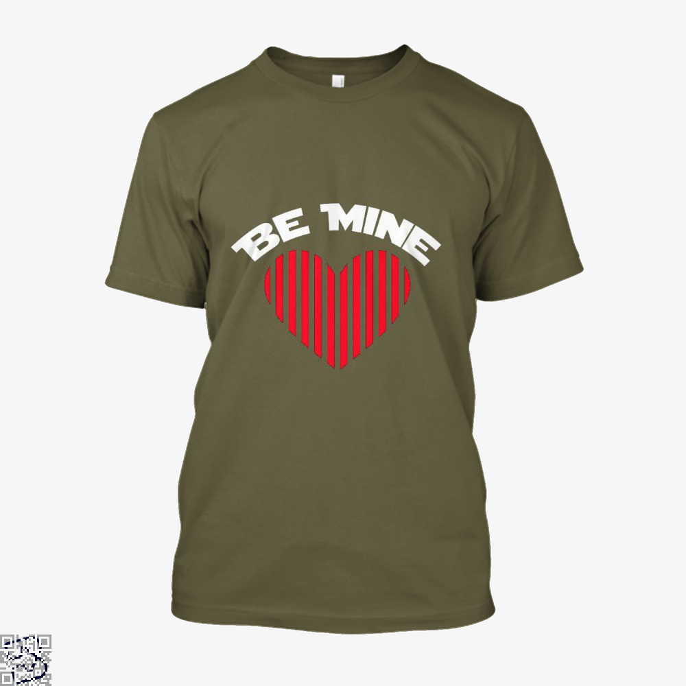 Be Mine Valentine Retro Striped Heart Youth Valentines Day Shirt - Men / Brown / X-Small - Productgenjpg