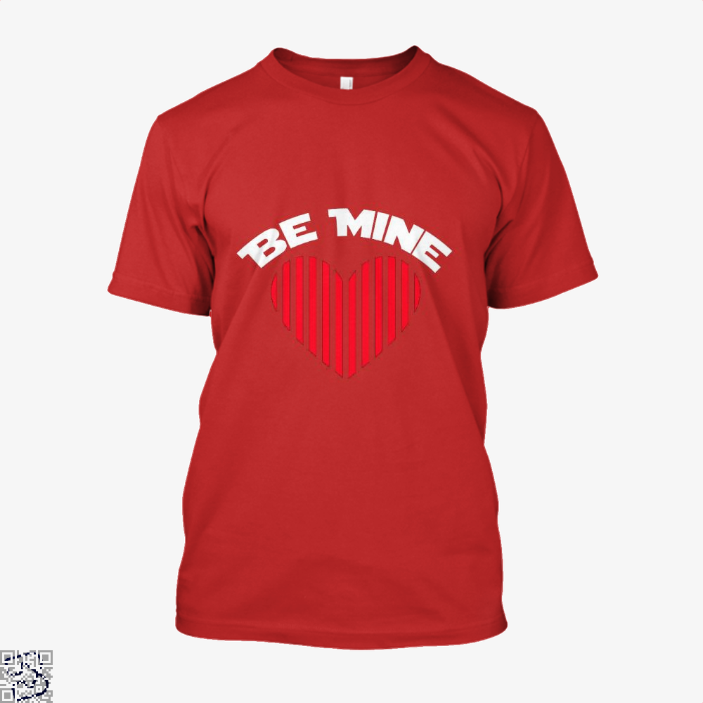 Be Mine Valentine Retro Striped Heart Youth Valentines Day Shirt - Men / Red / X-Small - Productgenjpg