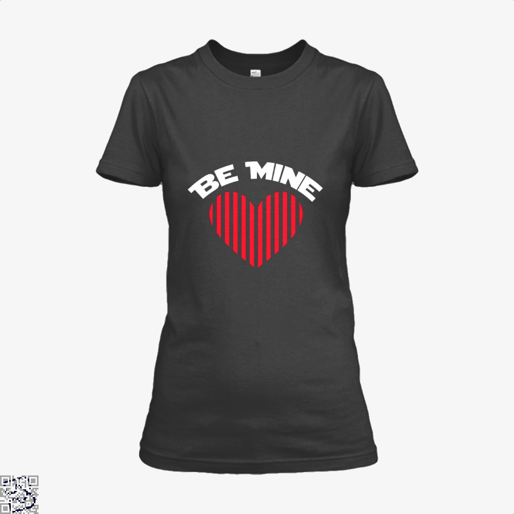 Be Mine Valentine Retro Striped Heart Youth Valentines Day Shirt - Women / Black / X-Small - Productgenjpg