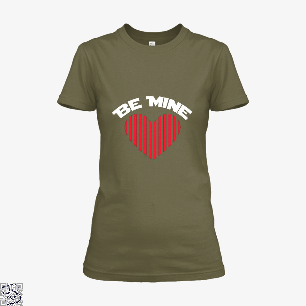 Be Mine Valentine Retro Striped Heart Youth Valentines Day Shirt - Women / Brown / X-Small - Productgenjpg