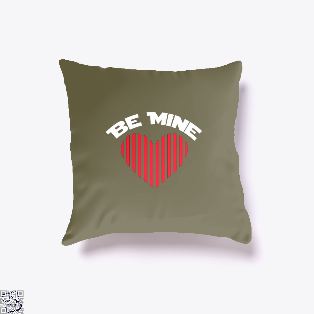 Be Mine Valentine Retro Striped Heart Youth Valentines Day Throw Pillow Cover - Brown / 16 X - Productgenjpg