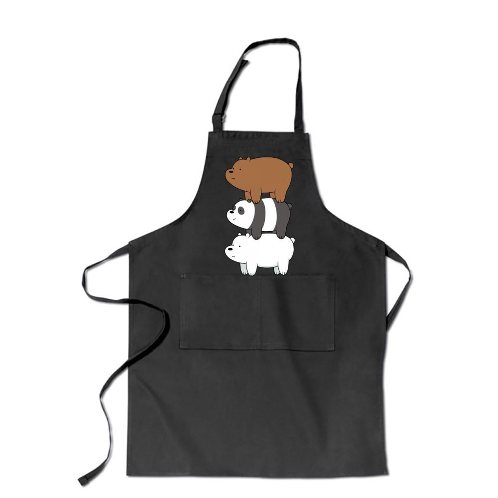 Bear Stack We Bare Bears Apron - Black / Polyester - Productgenapi