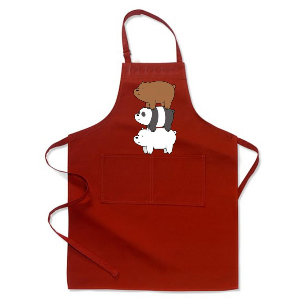 Bear Stack We Bare Bears Apron - Red / Polyester - Productgenapi