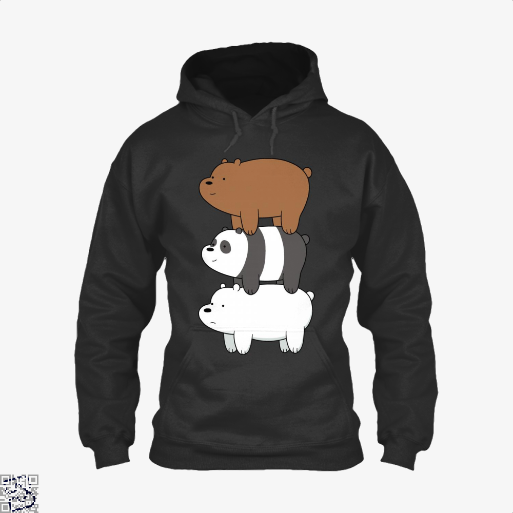 Bear Stack We Bare Bears Hoodie - Black / X-Small - Productgenapi