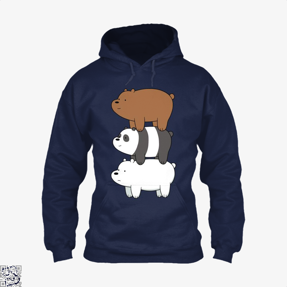 Bear Stack We Bare Bears Hoodie - Blue / X-Small - Productgenapi