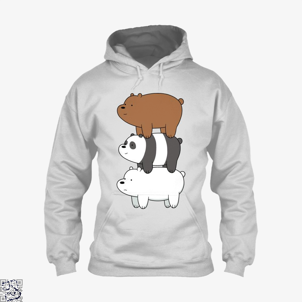 Bear Stack We Bare Bears Hoodie - White / X-Small - Productgenapi