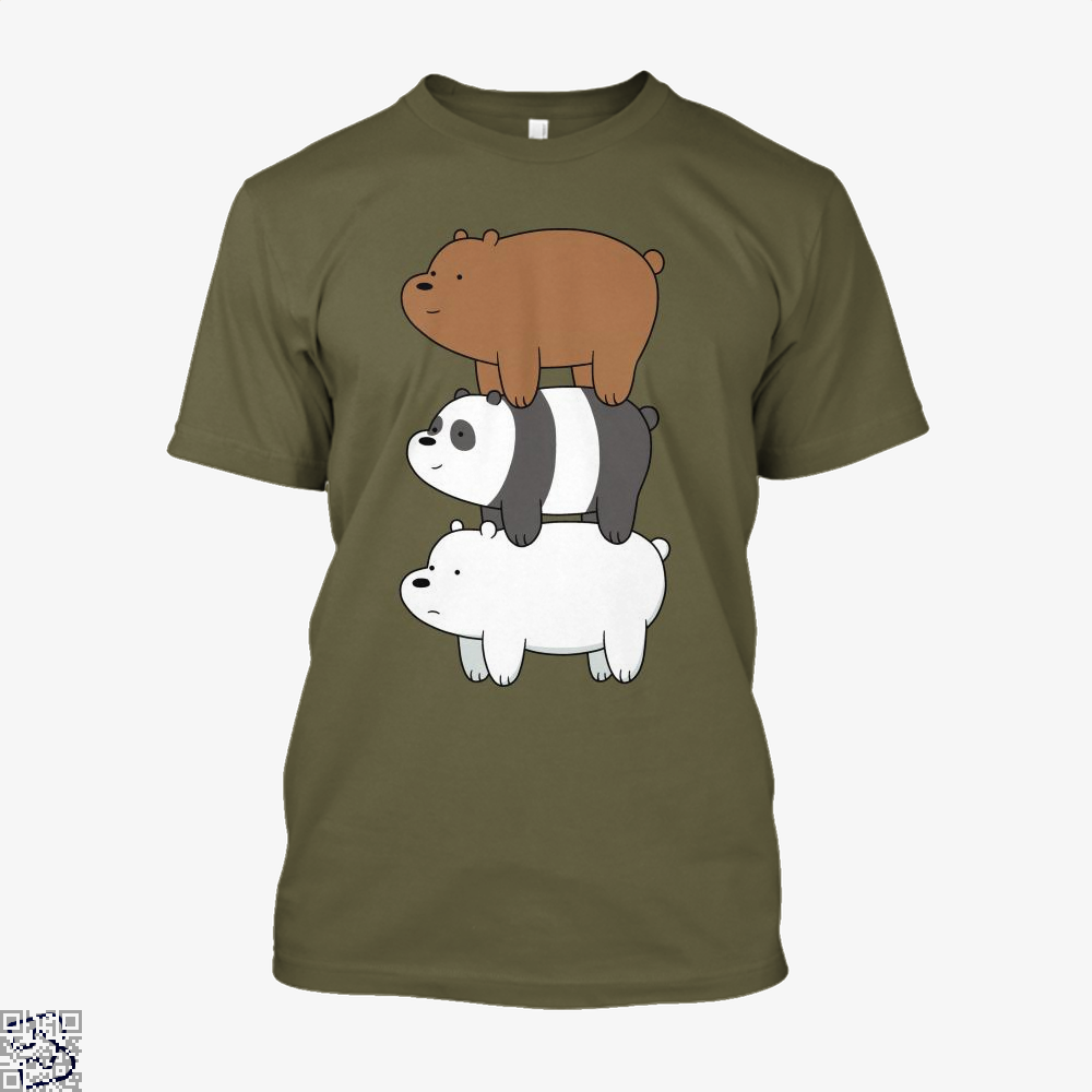 Bear Stack We Bare Bears Shirt - Men / Black / X-Small - Productgenapi