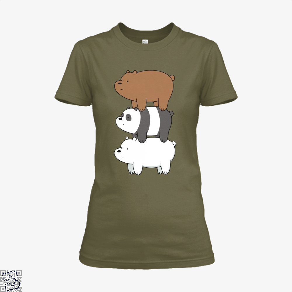Bear Stack We Bare Bears Shirt - Women / Red / X-Small - Productgenapi