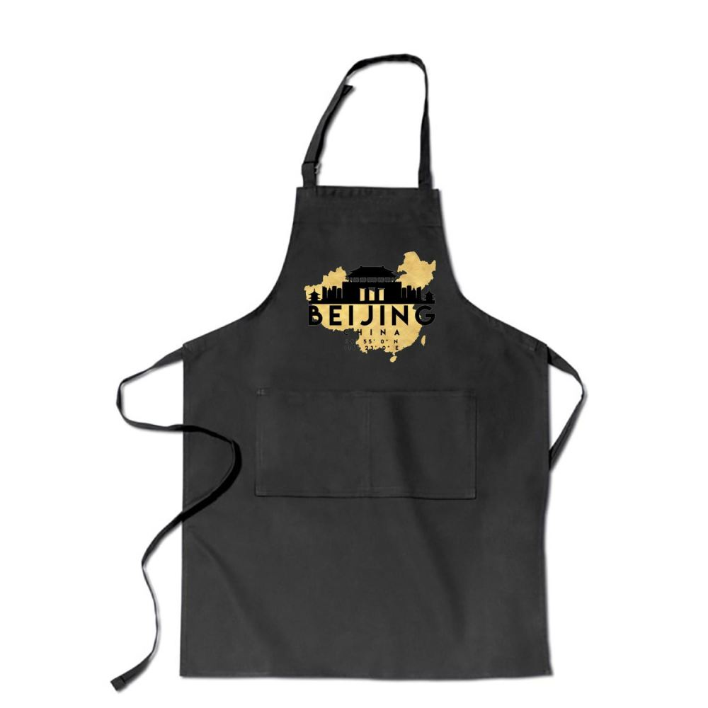 Beijing China Skyline Map My City Apron - Black / Polyester - Productgenapi