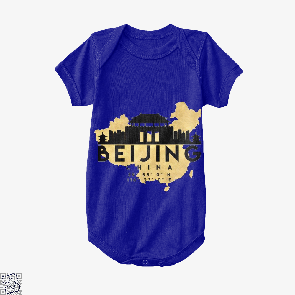 Beijing China Skyline Map My City Baby Onesie - Navy / 0-3 Months - Productgenapi