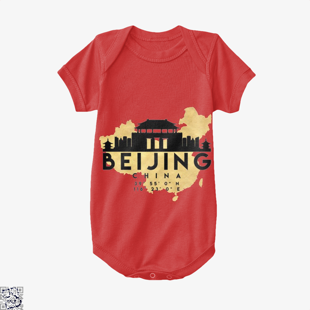Beijing China Skyline Map My City Baby Onesie - Red / 0-3 Months - Productgenapi
