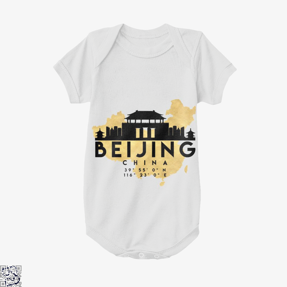 Beijing China Skyline Map My City Baby Onesie - White / 0-3 Months - Productgenapi