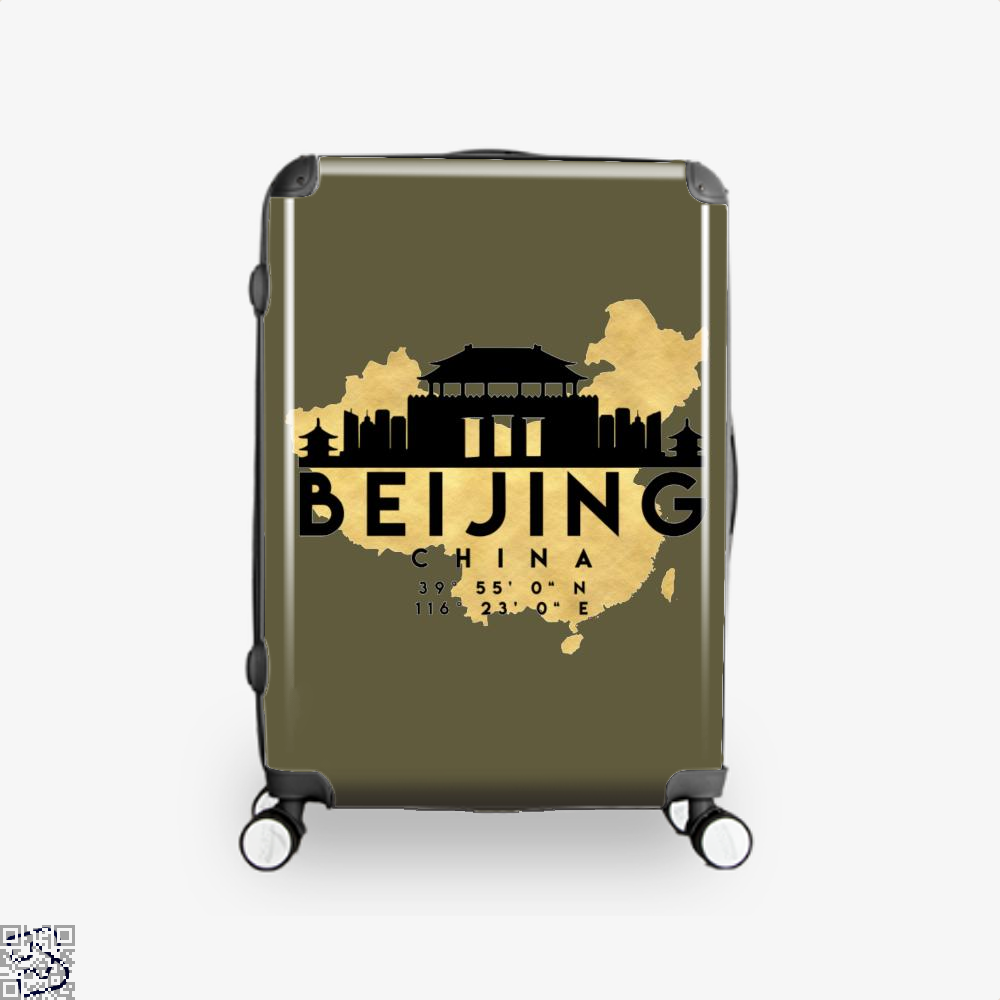Beijing China Skyline Map My City Suitcase - Brown / 16 - Productgenapi