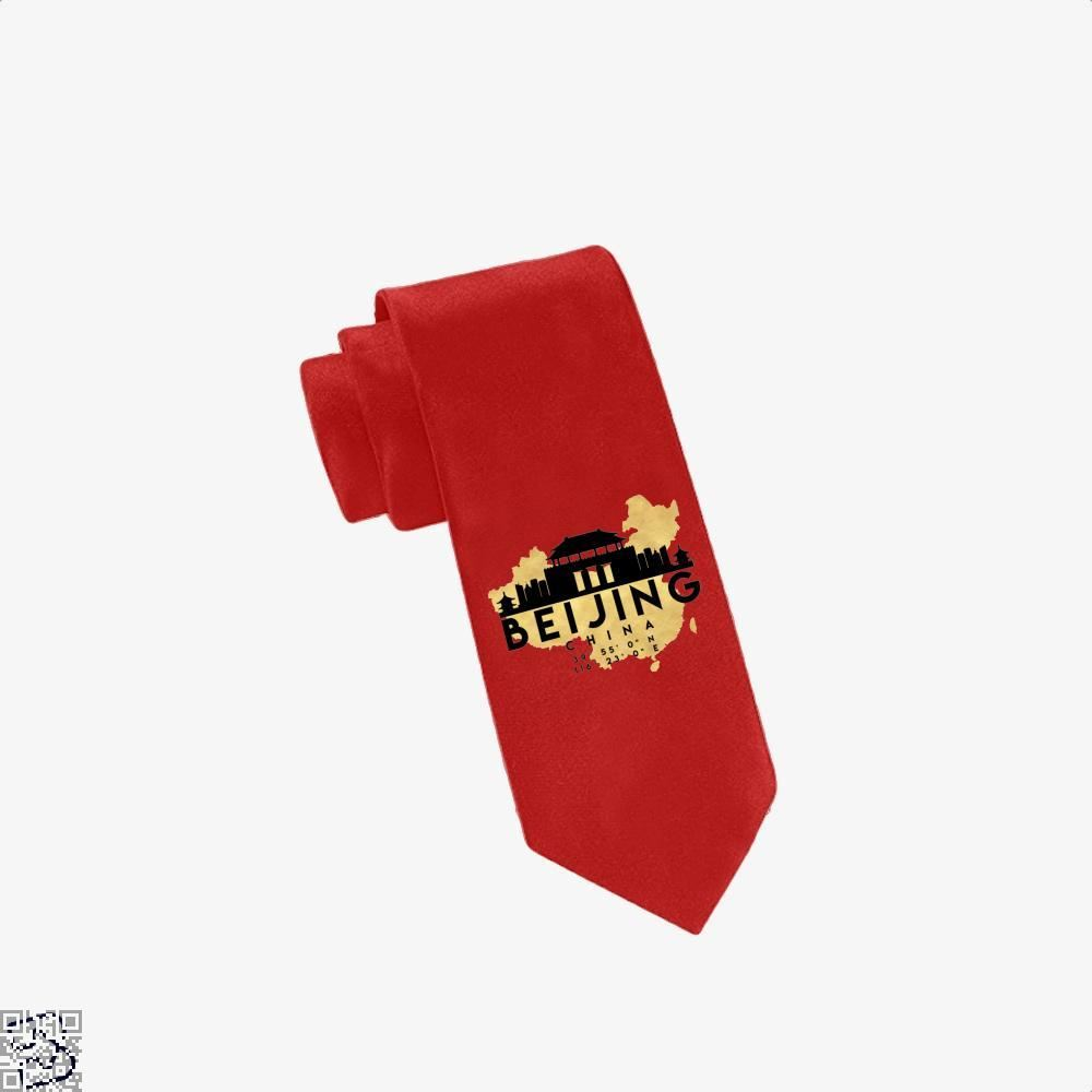Beijing China Skyline Map My City Tie - Red - Productgenapi