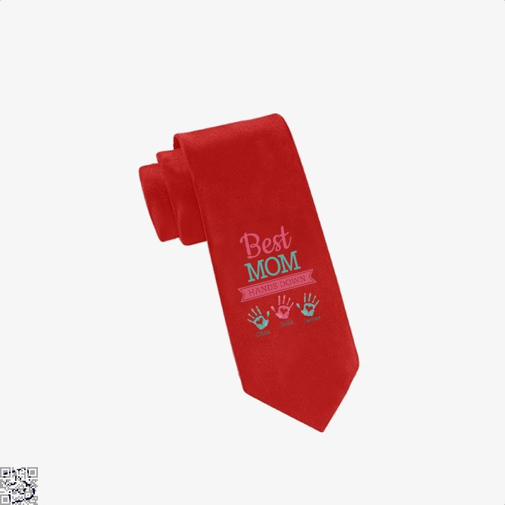 Best Mom Hands Down Mothers Day Tie - Red - Productgenjpg