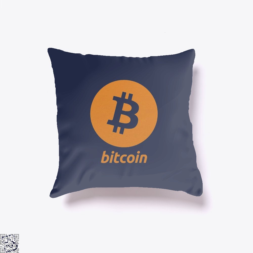 Bitcoin Logo Cryptocurrency Throw Pillow Cover - Blue / 16 X - Productgenapi