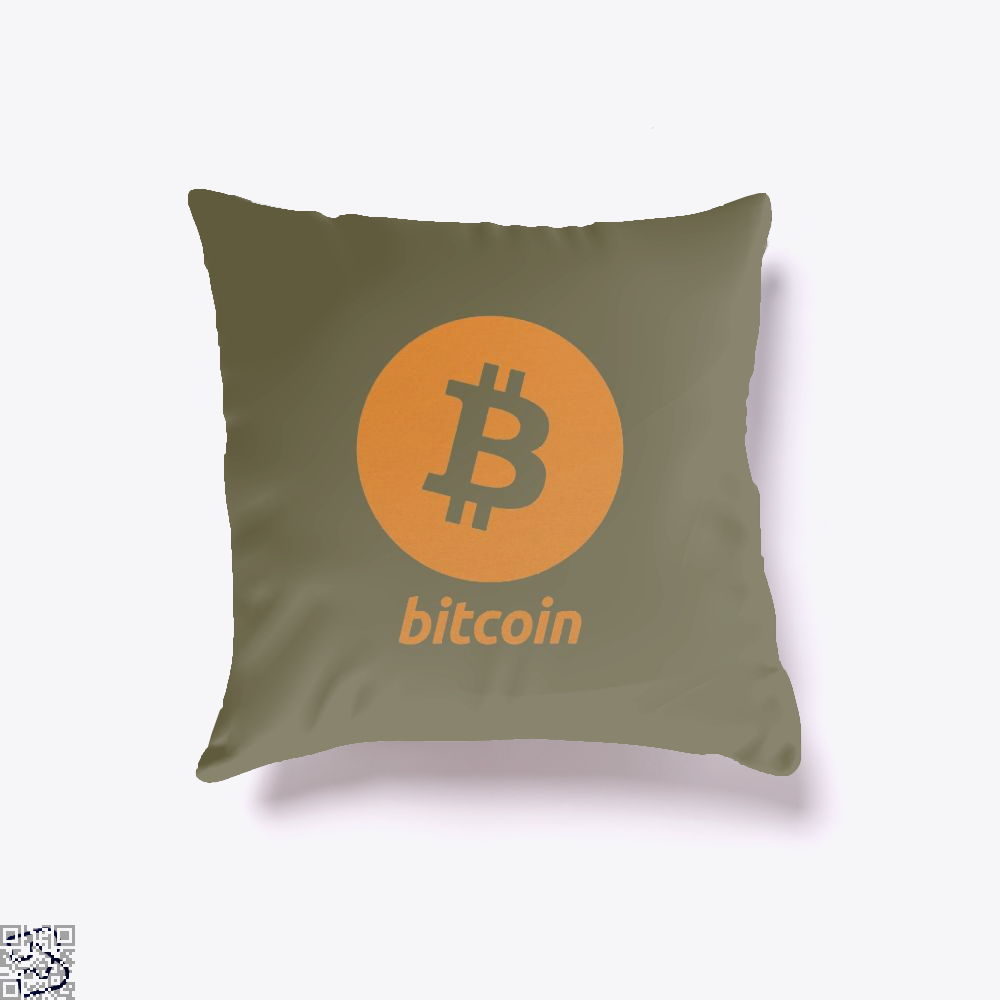 Bitcoin Logo Cryptocurrency Throw Pillow Cover - Brown / 16 X - Productgenapi
