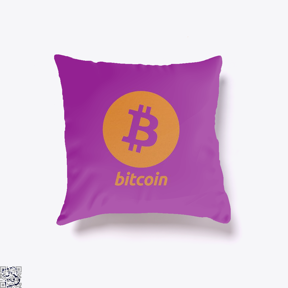 Bitcoin Logo Cryptocurrency Throw Pillow Cover - Purple / 16 X - Productgenapi