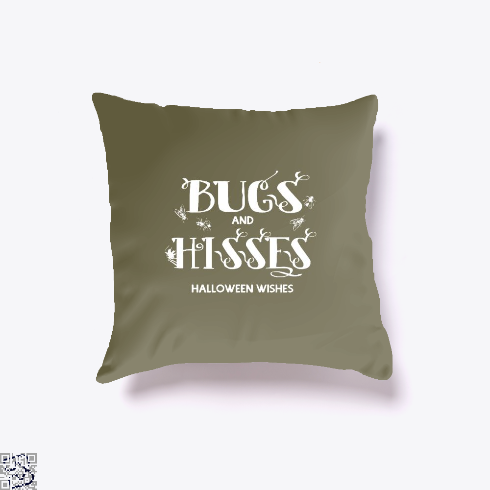 Bugs And Hisses Halloween Wishes Throw Pillow Cover - Brown / 16 X - Productgenjpg