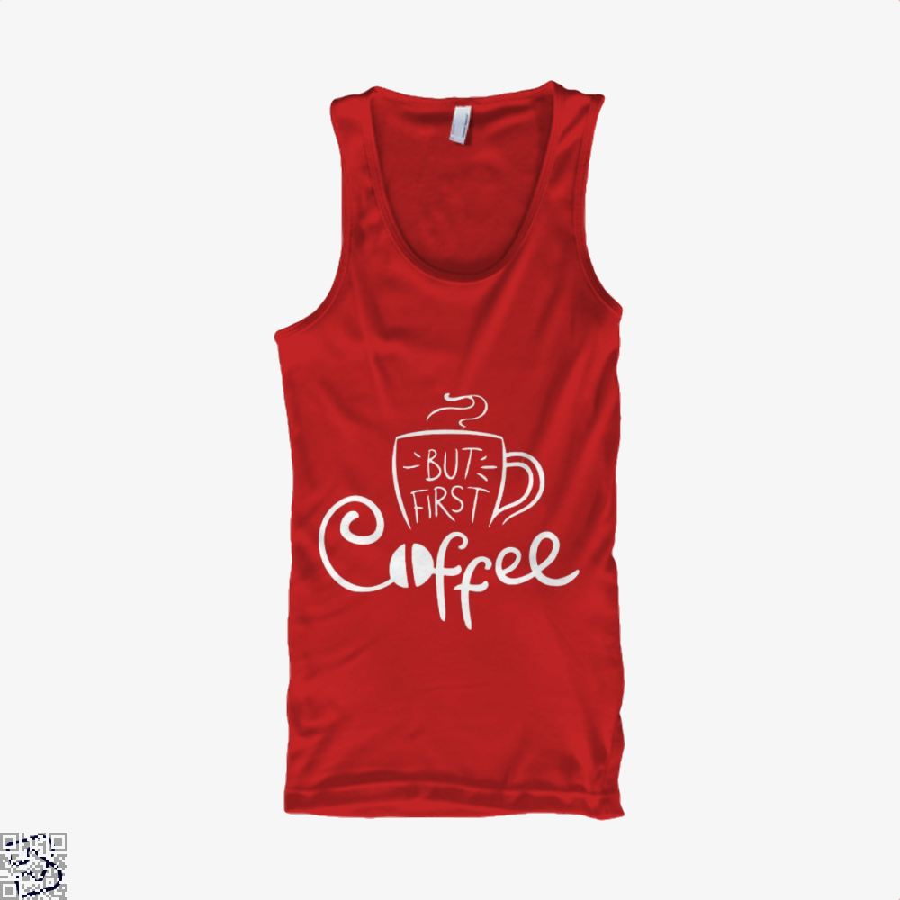 But First Coffee Beans Tank Top - Women / Red / Small - Productgenapi
