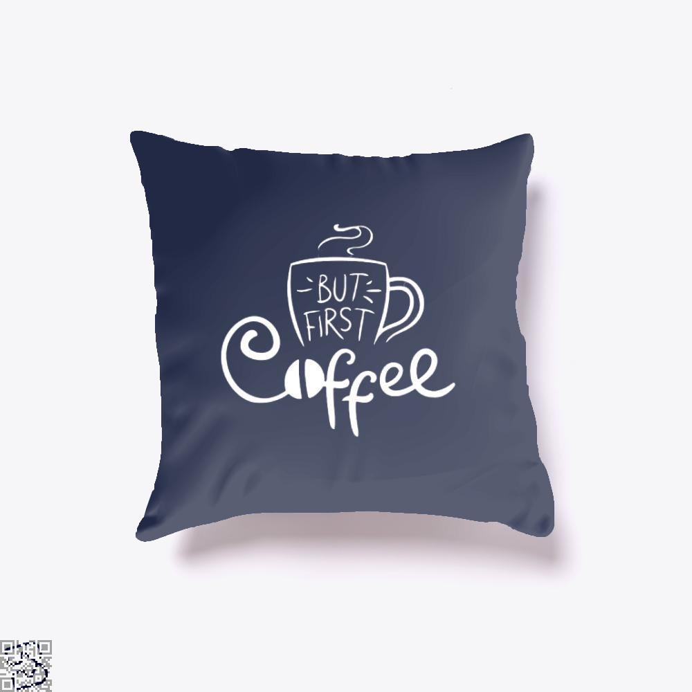 But First Coffee Beans Throw Pillow Cover - Blue / 16 X - Productgenapi