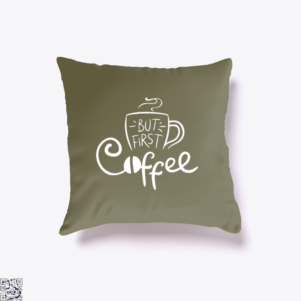 But First Coffee Beans Throw Pillow Cover - Brown / 16 X - Productgenapi