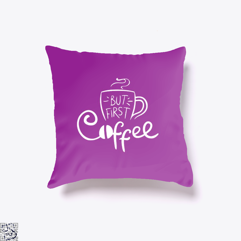 But First Coffee Beans Throw Pillow Cover - Purple / 16 X - Productgenapi