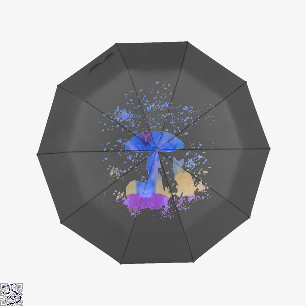 Cat And Mushroom Umbrella - Black - Productgenjpg