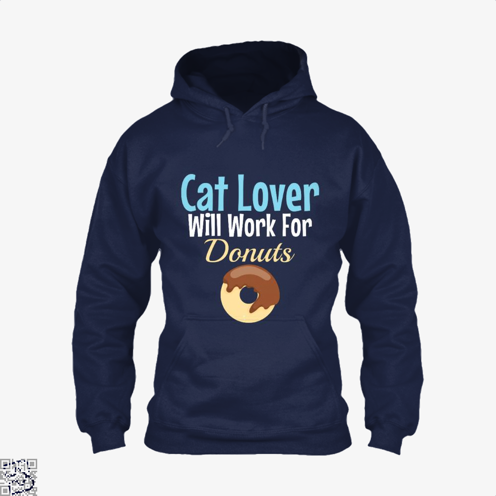 Cat Lover Will Work For Donuts Hoodie - Blue / X-Small - Productgenjpg
