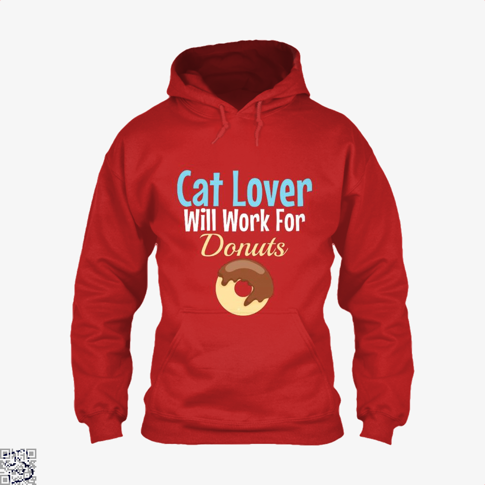 Cat Lover Will Work For Donuts Hoodie - Red / X-Small - Productgenjpg
