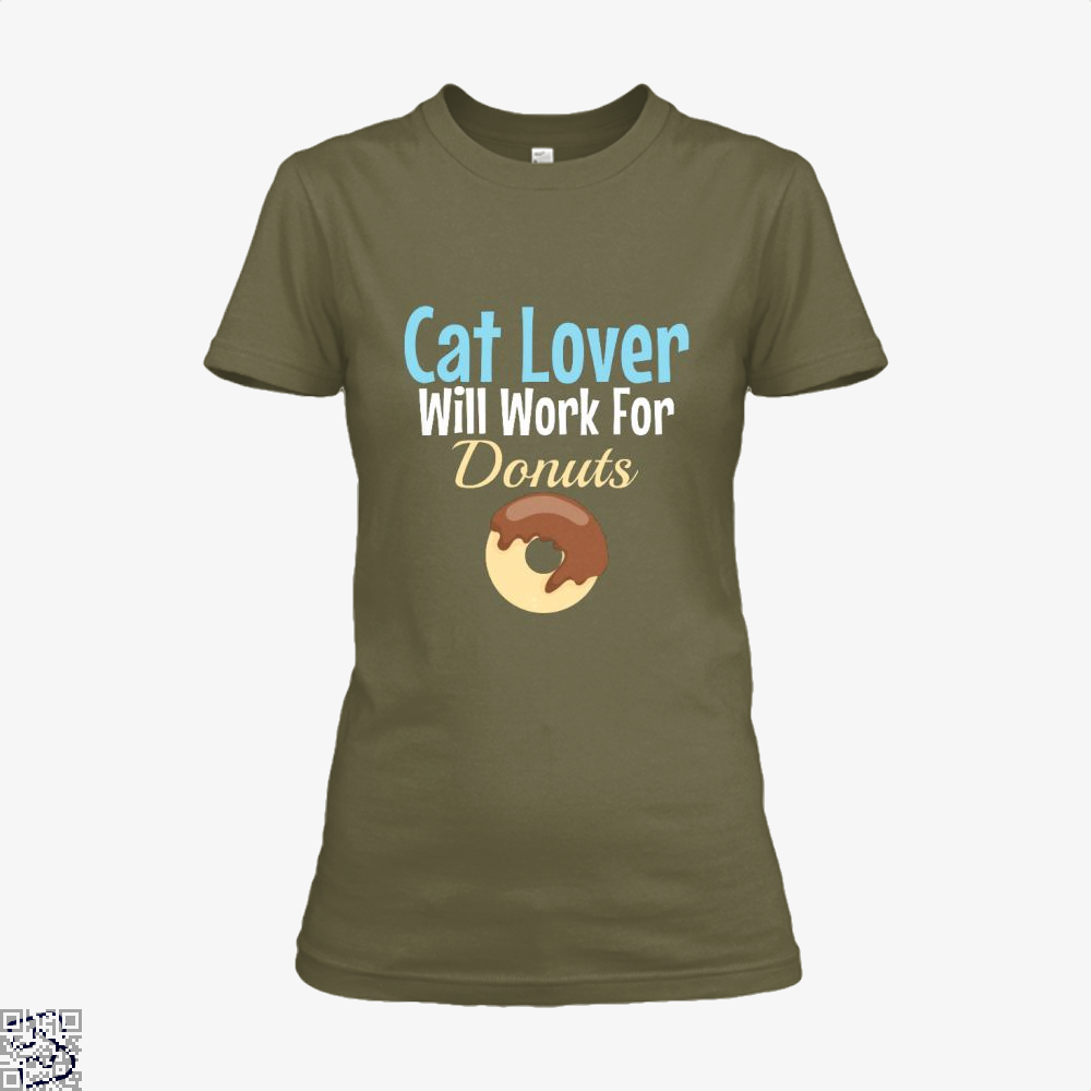 Cat Lover Will Work For Donuts Shirt - Women / Brown / X-Small - Productgenjpg