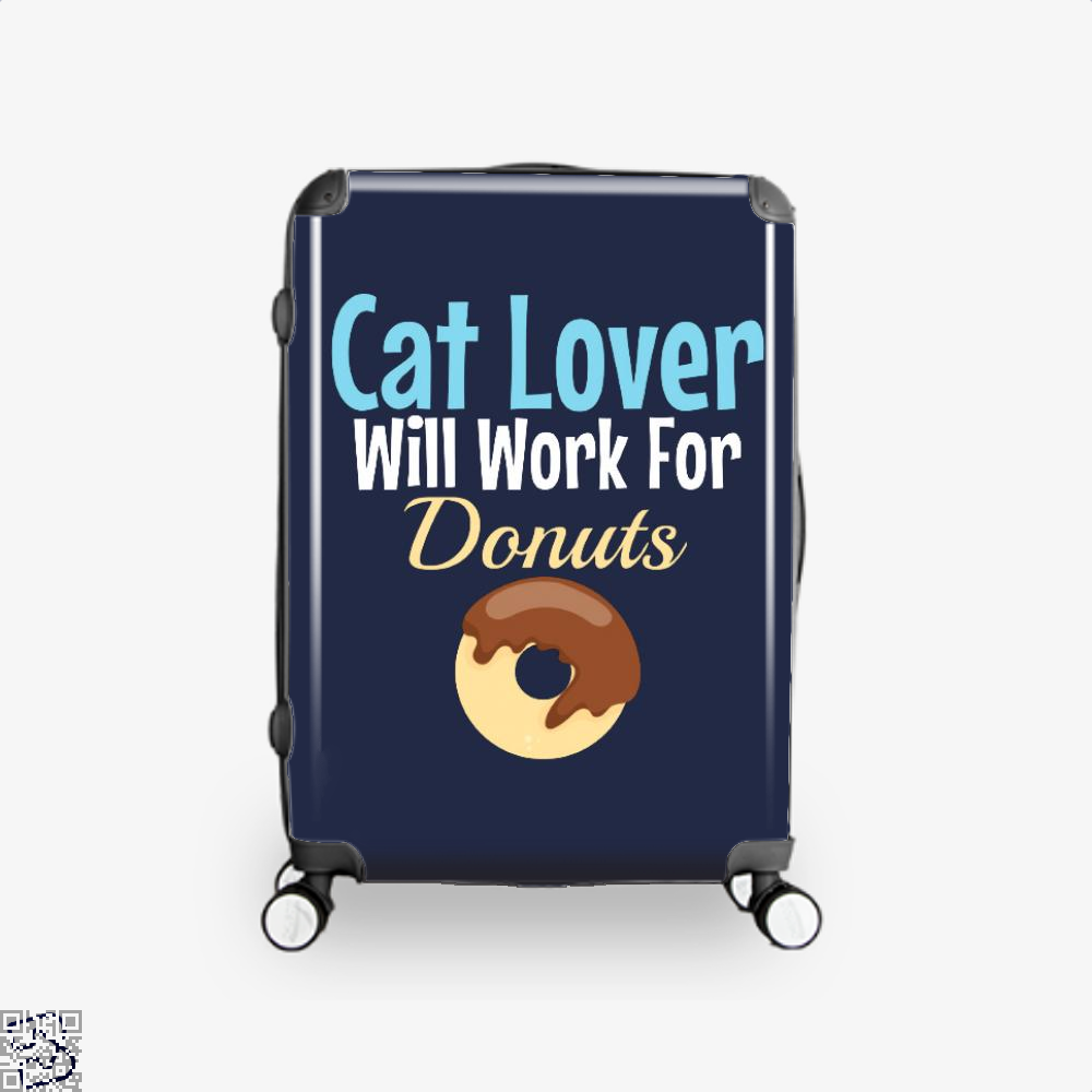 Cat Lover Will Work For Donuts Suitcase - Blue / 16 - Productgenjpg