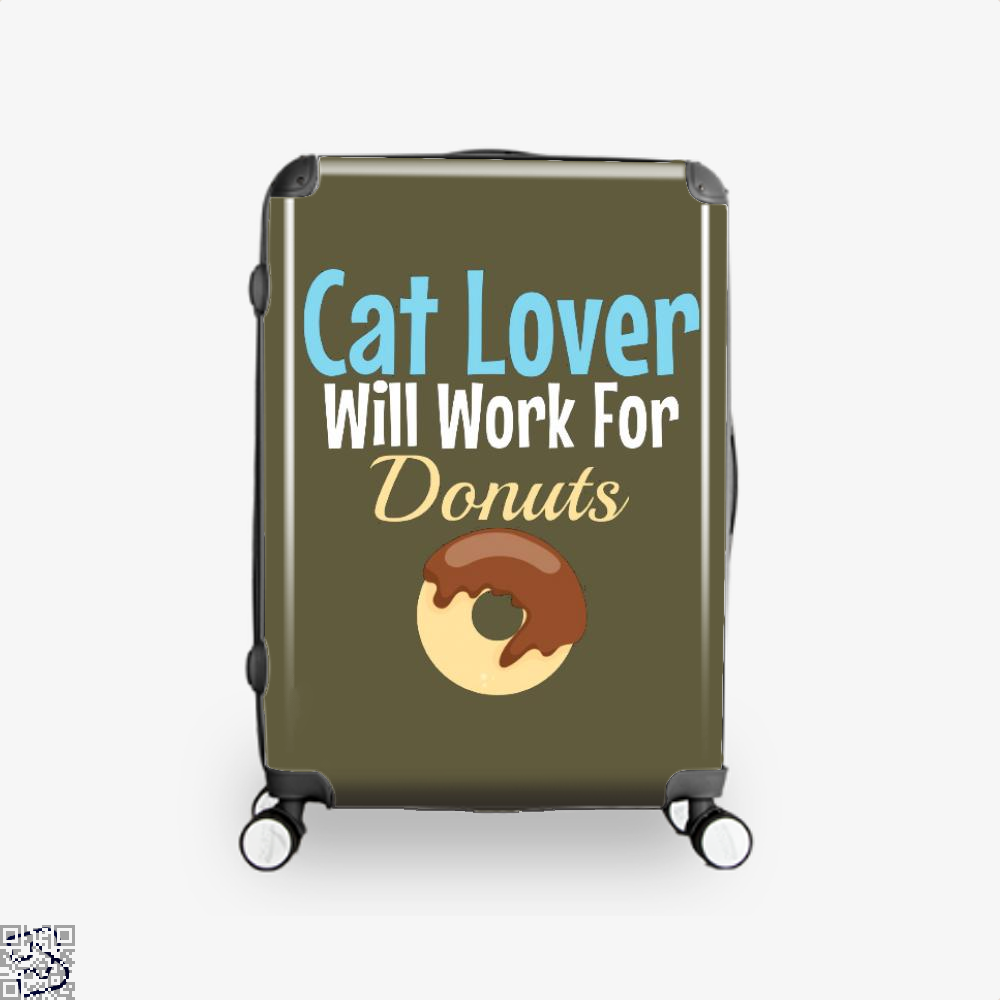 Cat Lover Will Work For Donuts Suitcase - Brown / 16 - Productgenjpg